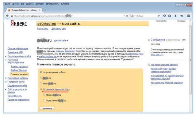Главное зеркало в сервисе вебмастеров Яндекса