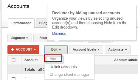Возможность скрыть неиспользуемые аккаунты в Центре клиентов