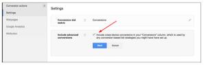Изменения в столбце «Конверсии» интерфейса Google AdWords