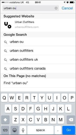 Мобильный браузер Safari предлагает веб-сайт