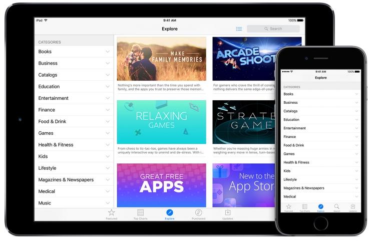 Выбор категории в App store